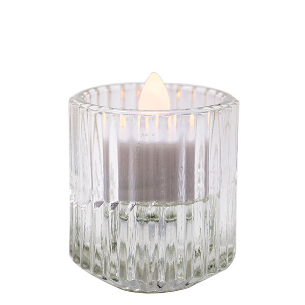 Pleated Glass Clear Votive 2