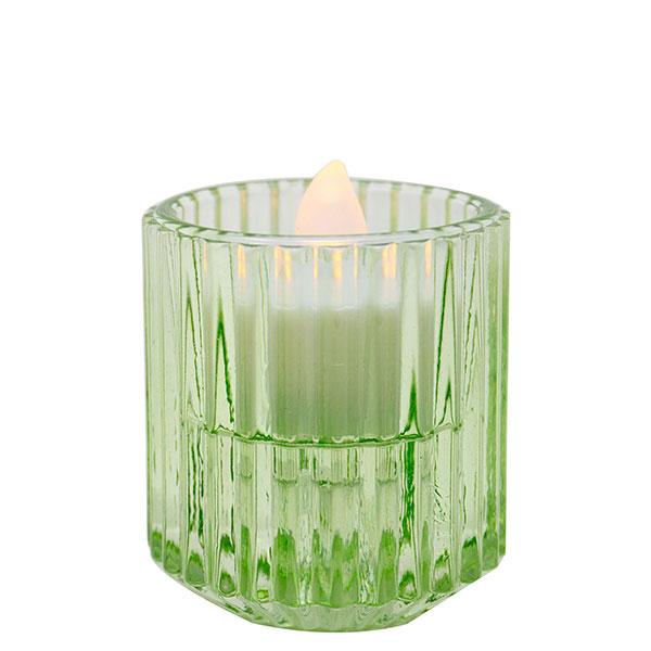 Pleated Glass Green Votive 2